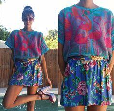 Vintage Pink Flamingos Sweater, Vintage Floral Skirt, Aldo Glitter Platforms, Vintage Oversize Sunnies