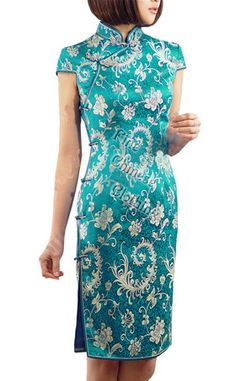 Big picture of Chinese Silk Brocade Mini Qipao - Phoenix Floral