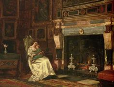 By the Fireside, by George Goodwin Kilburne (1839-1924).