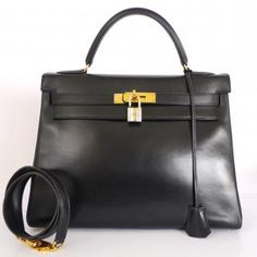 Authentic Hermes Black Box Calf Kelly Bag With Strap 32cm