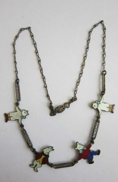 Vintage Sterling Childs Necklace with 4 Enameled Figures Very Very Sweet | eBay