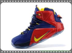 sites de tenis 684593-611 Nike Lebron 12 EP Deep Azul/Vermelho/Amarelo