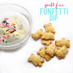"""La Petite Fashionista: Guilt Free Funfetti Dip (because who doesn't love sprinkles!)  I wouldn't necessarily call this """"guilt free"""" but it still sounds tasty!"""