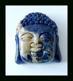 228 Cts Vintage Natural African Sodalite Large Buddha Heads Detailed Carving  African Sodalite gemstone carving,gemstone carving from gemrockauctions