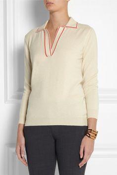 Bottega Veneta|Contrast-trimmed cashmere top|NET-A-PORTER.COM