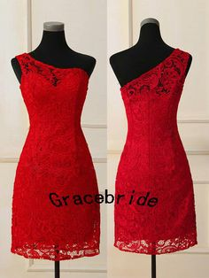 new red lace prom dress with unique one shoulder sheath short wedding dresses for evening party custom elegant stunning homecoming gowns hot on Etsy, $148.00