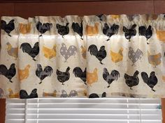 Yellow Black and Gray Rooster Kitchen Valance  by CheriesSewCrafty