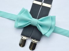 Aqua Spa Bow Tie & Charcoal Grey Suspenders for Groom, Groomsmen, Ring Bearer Groomsmen Suspenders, Bowtie And Suspenders, Bowties, Aqua Wedding Colors, Charcoal Wedding, Ring Bearer Outfit, Shiny Fabric, Toddler Bows, Baby Size