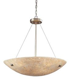 ELK Lighting Stonybrook 6 Light Pendant In Satin Nickel And Pearl Stone - 8887/6