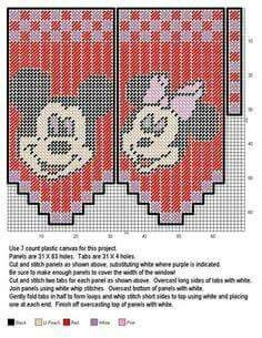 Mickey and Minnie valance Plastic Canvas Tissue Boxes, Plastic Canvas Crafts, Plastic Canvas Patterns, Needlepoint Patterns, Cross Stitch Patterns, Valance Patterns, Disney Canvas, Santa Face, Plastic Canvas Christmas