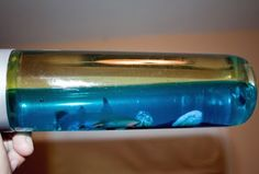Pirate party - possible craft idea, ocean in a bottle with oil blue dye water and plastic ocean themed toys.