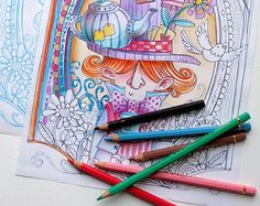 Coloring page JPG The Cheshire cat  Alice in von MrsPeggottyArts