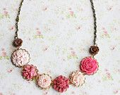 Pink Chocolate Flower Necklace. Bohemian. Romantic. Delicate. Whimsical. Floral Jewelry. Rose Smoke. Fall. Autumn Wedding.
