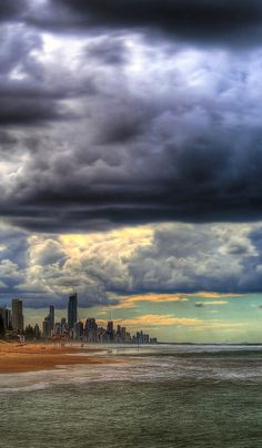 Storm front covering Surfers Paradise (on the Gold Coast, Qld, Australia).