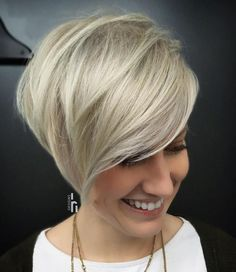 Cool Metallic Blonde Pixie Bob with Teased Roots
