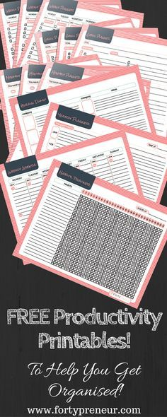 FREE Productivity Planners Printables, For All Those Procrastinators! Yours to dow Free Planner, Planner Pages, Happy Planner, Free Printable Planner, Essay Planner, Pink Planner, Weekly Planner, Organisation Hacks, Planner Organization
