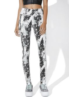 Rup Up Leggings are ready to show everybody the business, bb. These sikk leggings feature an abstract splatter printed construction in huez of grey 'N black, mid rise, thick waistband with hidden pocket, and a sleek, comfortable fit.