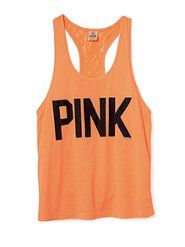 PINK Lace-back Yoga Tank