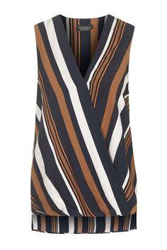 Sleeveless Striped Drape Blouse - Tops - Clothing - Topshop