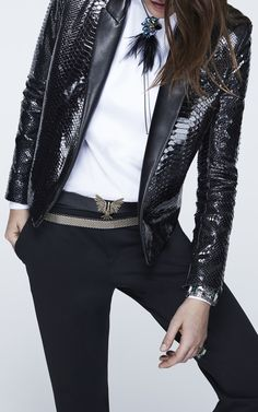 Python Tuxedo Jacket With Lambskin Reverse by LANVIN for Preorder on Moda Operandi