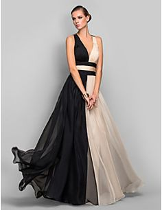 4eb309fb561 [$119.99] A-Line Plunging Neck Floor Length Chiffon Open Back / Color Block Formal  Evening Dress with Ruched by TS Couture®