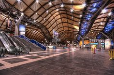 One of the busiest stations in Melbourne, Southern Cross (formerly Spencer Street) tops the cool-list for futuristic design. The award-winning creation by Nicholas Grimshaw features a unique, 'wave'-like roof that not only looks good but is meticulously engineered to provide natural ventilation and draw smoke and diesel fumes out of the air.
