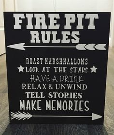 Fire Pit Rules wooden sign (summer porch decor fire pits)