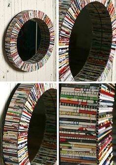 Recycled magazine mirror