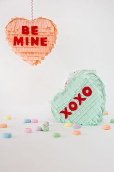 DIY Conversation Heart Pinatas