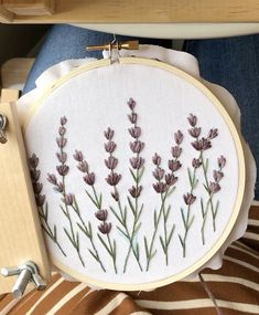 Embroidery Hoop Art Cross stitch lavender, lavender embroidery, lavender flowers needlepoint, hand s Hand Embroidery Videos, Embroidery Stitches Tutorial, Embroidery Flowers Pattern, Embroidery Hoop Art, Vintage Embroidery, Embroidery Ideas, Crewel Embroidery, Machine Embroidery, Beginner Embroidery