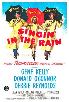 "Singin' in the Rain - Musical Comedy Movie Poster Print  13""x19"" - Singing in the Rain - Gene Kelly - Debbie Reynolds - Donald O'Conner"