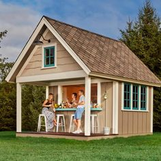 The perfect party spot, plus tons of storage. This pub shed features both a shaded patio and bar. And lets not forget about its storage capacity!