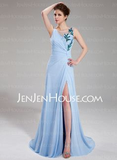 Evening Dresses - $142.29 - Sheath Scoop Neck Sweep Train Chiffon Tulle Evening Dresses With Ruffle Beading Appliques Sequins (017019562) http://jenjenhouse.com/Sheath-Scoop-Neck-Sweep-Train-Chiffon-Tulle-Evening-Dresses-With-Ruffle-Beading-Appliques-Sequins-017019562-g19562
