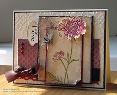 Nature's Walk (saying and bee) and Field Flowers (flower and stem) stamped card.  Stampin Up (SU)