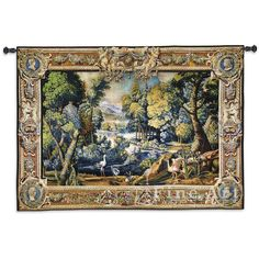 """Measures: 71"""" width x 53"""" length Jacquard woven 100% cotton art tapestry. Not a print. Rod pocket. Fully lined on the back side. Weighted bottom. Rod not included. Made in the USA. Special Delivery/Ha"""