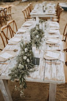 kate and greg — wildfolk Beach Dinner Reception Outdoor Wedding Tables, Wedding Table Settings, Rustic Wedding Ceremonies, Rustic Wedding Chic, Southern Wedding Decor, Rustic Wedding Backdrop Reception, Casual Wedding Decor, Picnic Table Wedding, Wedding Ceremony