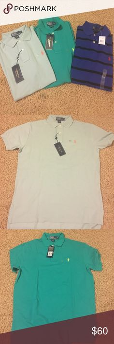 Polo Ralph Lauren brand new with tags polo shirts Polo Ralph Lauren set of three polo shirts. Brand new with tags- great condition and great for summer! A nice variety for any summer wardrobe! Polo by Ralph Lauren Tops