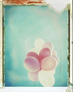 pink balloons Polaroid