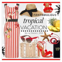 Tropical Outfit * Red & White Dress by calamity-jane-always on Polyvore featuring polyvore fashion style Dolce&Gabbana Aquazzura Eugenia Kim Casetify FOSSIL clothing dress dolcegabbana fashionset