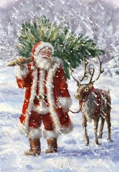 Father Christmas and his reindeer Christmas Scenes, Noel Christmas, Victorian Christmas, Winter Christmas, Christmas Crafts, Christmas Decorations, Father Christmas, Xmas, Reindeer Christmas