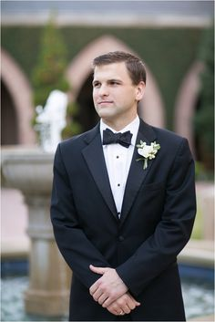 Black Suit and Black Bow Tie ~ Groom's Fashion ~ Photo: Sarah Ainsworth Photography