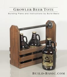Build a Growler Beer Tote - Building Plans by @BuildBasic www.build-basic.com--dowel or rope handle!
