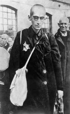 An emaciated Jew from the Lodz ghetto awaits deportation to the Chelmno death camp.