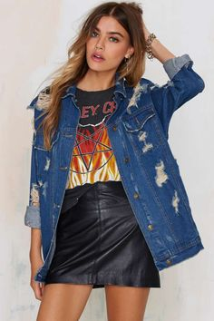 Holed Out Distressed Denim Jacket | Shop Clothes at Nasty Gal!