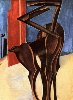 Wyndham Lewis.  Painting inspired by Book 4 of *Gulliver's Travels*.