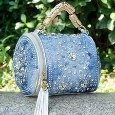 summer bag Free Shipping 2014 new arrive woman fashion handbag Rhinestone Denim bag Woven handbags Bright surface wave packet #fashionhandbags