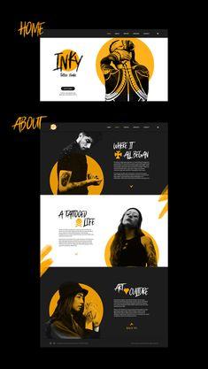 Inky Tattoo Studio Web design on Behance Website Design Layout, Website Design Inspiration, Graphic Design Inspiration, Layout Design, Web Banner Design, Graphisches Design, Book Design, Web Design Color, Modern Web Design