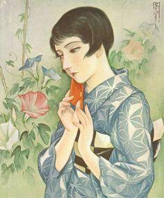 by Kasho Takabatake, Japanese Art Styles, Japanese Art Modern, Japanese Style, Japan Illustration, Art Inspiration Drawing, Woman Drawing, Japan Art, Japan Fashion, Vintage Posters