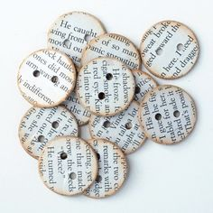 DIY with books and book pages, so cute! I like these buttons most of all, but really, I like a lot of them :D