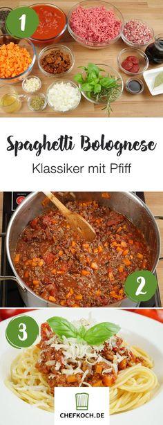 So beeindruckt ihr eure Gäste mit dem Klassiker: Spaghetti Bolognese mit besonderem Geschmackskick. Mit Video von kochkino.de.